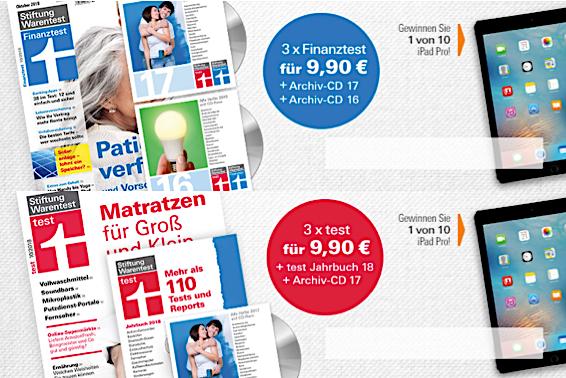 """[Stiftung Warentest] 3 Ausgaben + Jahrbuch + Archiv CD-ROM mit """"test"""" und """"Finanztest""""-Heften als PDF (für EUR 9,90 statt 54 bzw. 48,50 EUR)"""