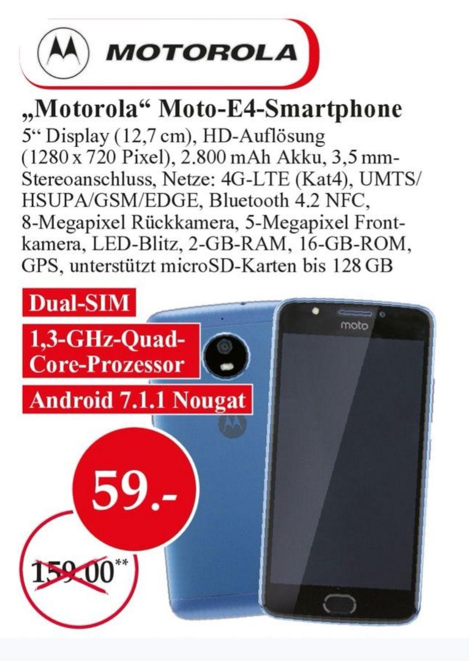 [Lokal Reutlingen] MOTOROLA MOTO E4 Dual Sim 5 Zoll Smartphone für 59€ *Telefunken D32H278E4 LED-TV 81cm 32 Zoll DVB-T2,HD ready, für 129€