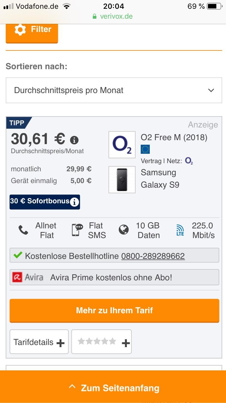 Samsung Galaxy S9 mit O2 Free M 10GB mit LTE 225,0MB + Telefon & SMS Flat + Gratis Avira für 6 Monate