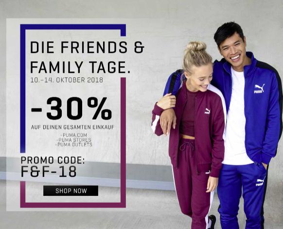 Friends & Family Tage bei PUMA: 30% Rabatt auf Full Price & Sale Artikel (mit Ausnahmen)