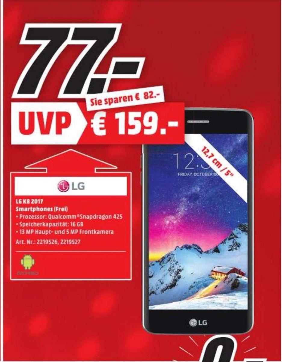[Lokal Dietzenbach] LG K8 2017 Schwarz 5 Zoll Smartphone für 77€ Media Markt