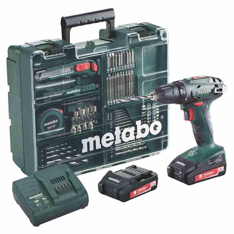 Metabo BS 18 Set Mobile Werkstatt - Akkuschrauber +Schnellspannfutter, Gürtelhaken, 2 Akkus, Ladegerät, Koffer, Zubehör Set (Li-Ion 18V 2Ah)