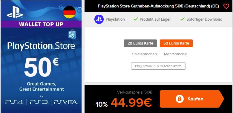 50€ Playstation4 Guthaben für 44.99€ / 20€ Playstation4 Guthaben für 17.99€