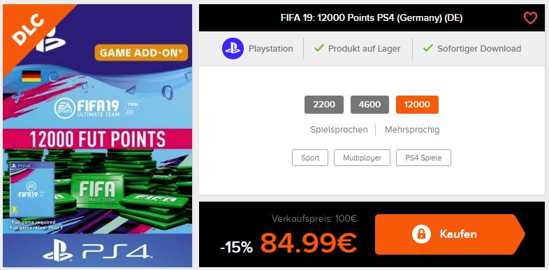 Fifa19 ( 12.000 Futpoints ) für 84.99€ (PS4&XBOX)