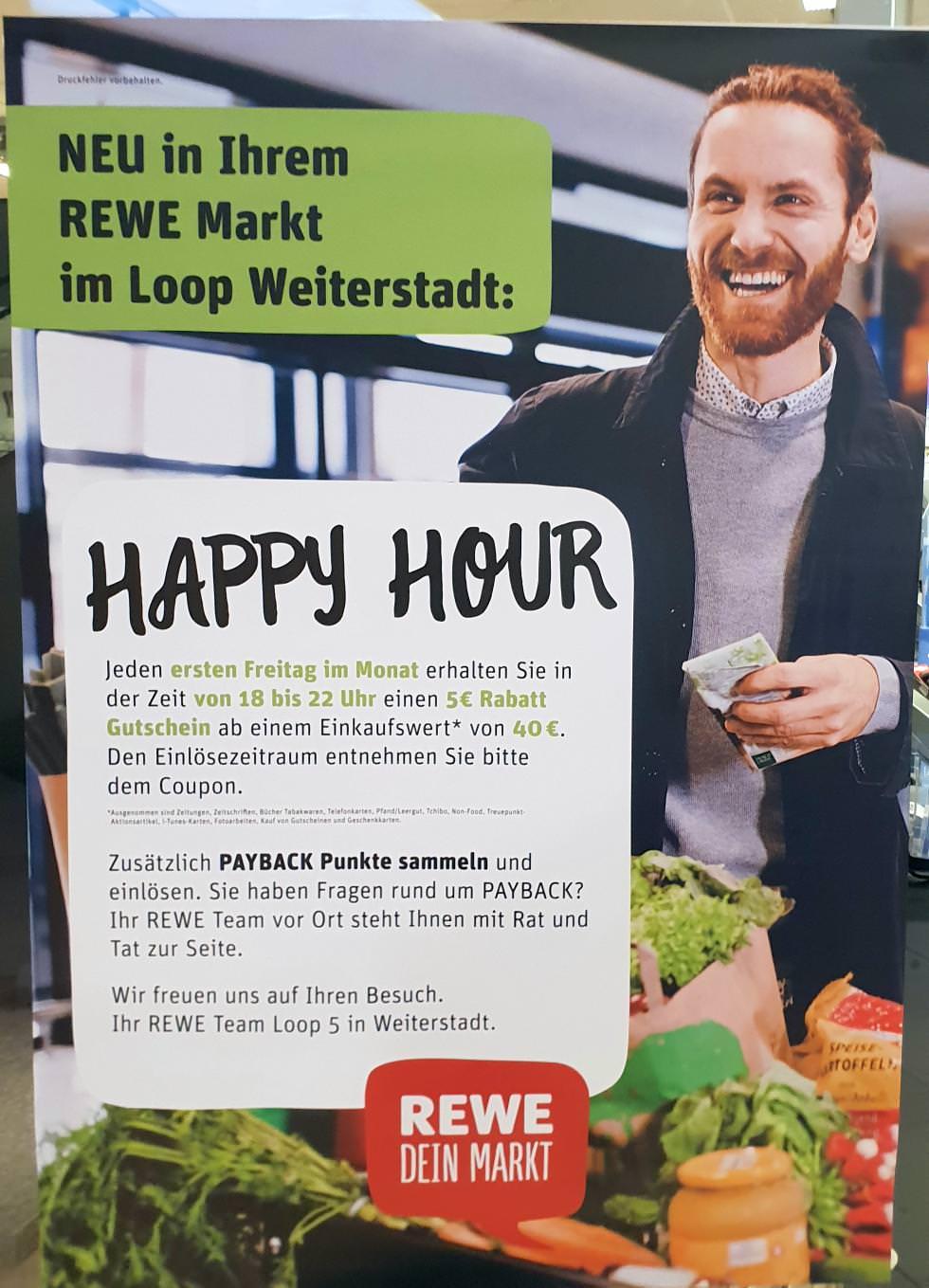 [Weiterstadt] 5,00€ Einkaufsgutschein jeden 1. Freitag im Monat zwischen 18-22 Uhr im Rewe Loop 5