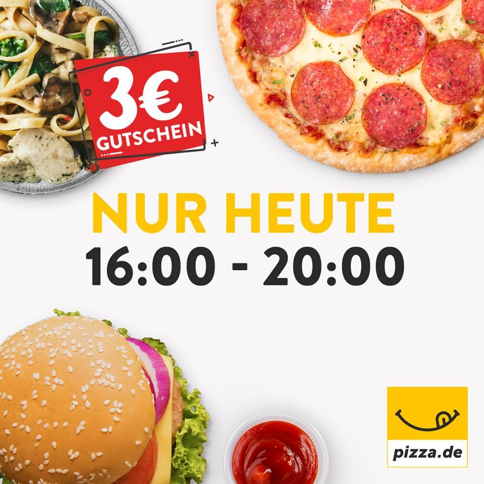 Pizza.de - 3€ Gutschein mit 8€ MBW von 16 bis 20 Uhr