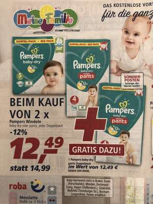 [real,-] 3 x Pampers baby dry oder pants Doppelpack für 24,98 €