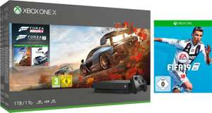 Xbox One X 1TB Bundle, inkl. Forza Horizon 4 & Forza 7 + FIFA 19 oder Xbox One X 1TB Bundle, inkl. Shadow of the Tomb Raider + FIFA 19