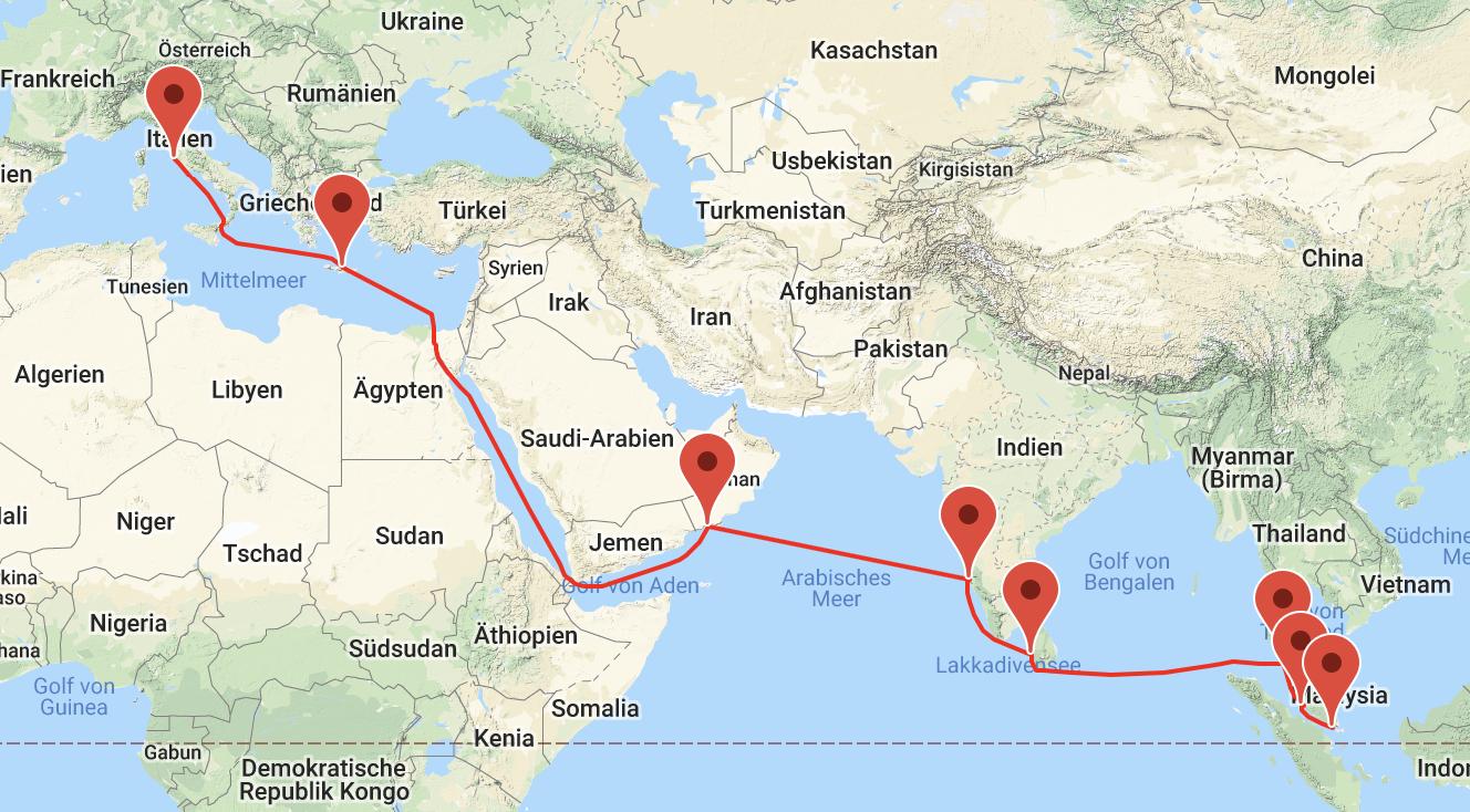 Kreuzfahrt: Von Singapur nach Genua, 21 Nächte, 2 Personen