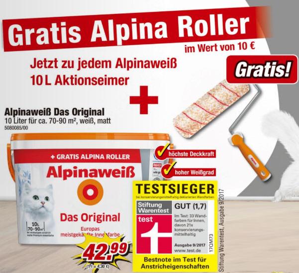 [Poco Offline] Alpina Weiß Original + Gratis Farbroller