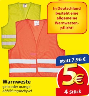 4x KFZ Warnwesten für 5€ [Famila Nordost]