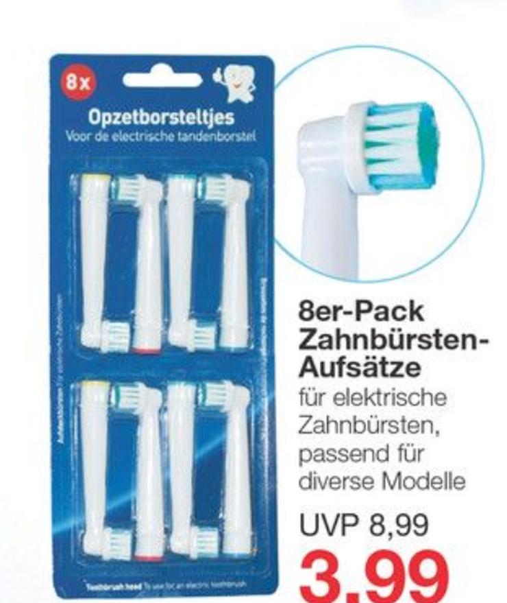 8er-Pack Aufsteckbürsten / Ersatzbürsten (kompatibel mit Oral-B) für 3,99€ (=0,50€/Stück) [Jawoll]