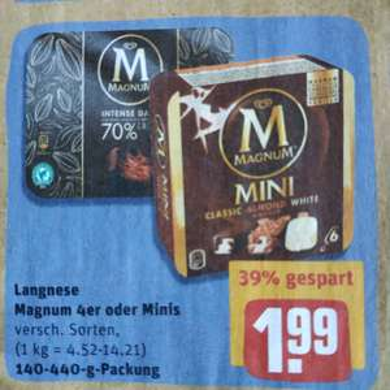 [REWE] Ab heute: Div. Sorten Magnum Eis im Angebot für 1,99