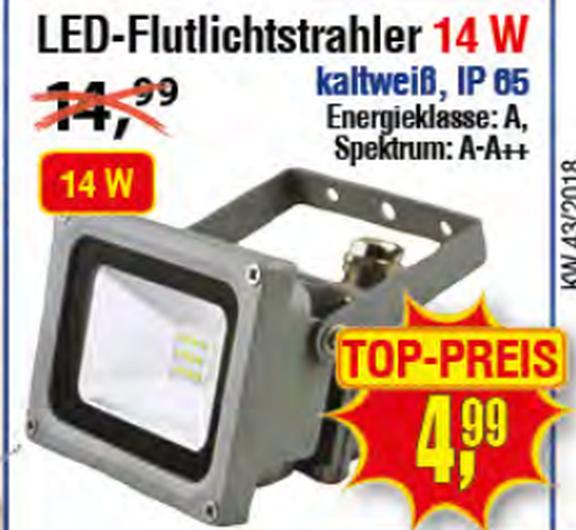 LED Flutlichtstrahler 14W, kaltweiß für 4,99€ bei Centershop NRW ab 22./25.10.18
