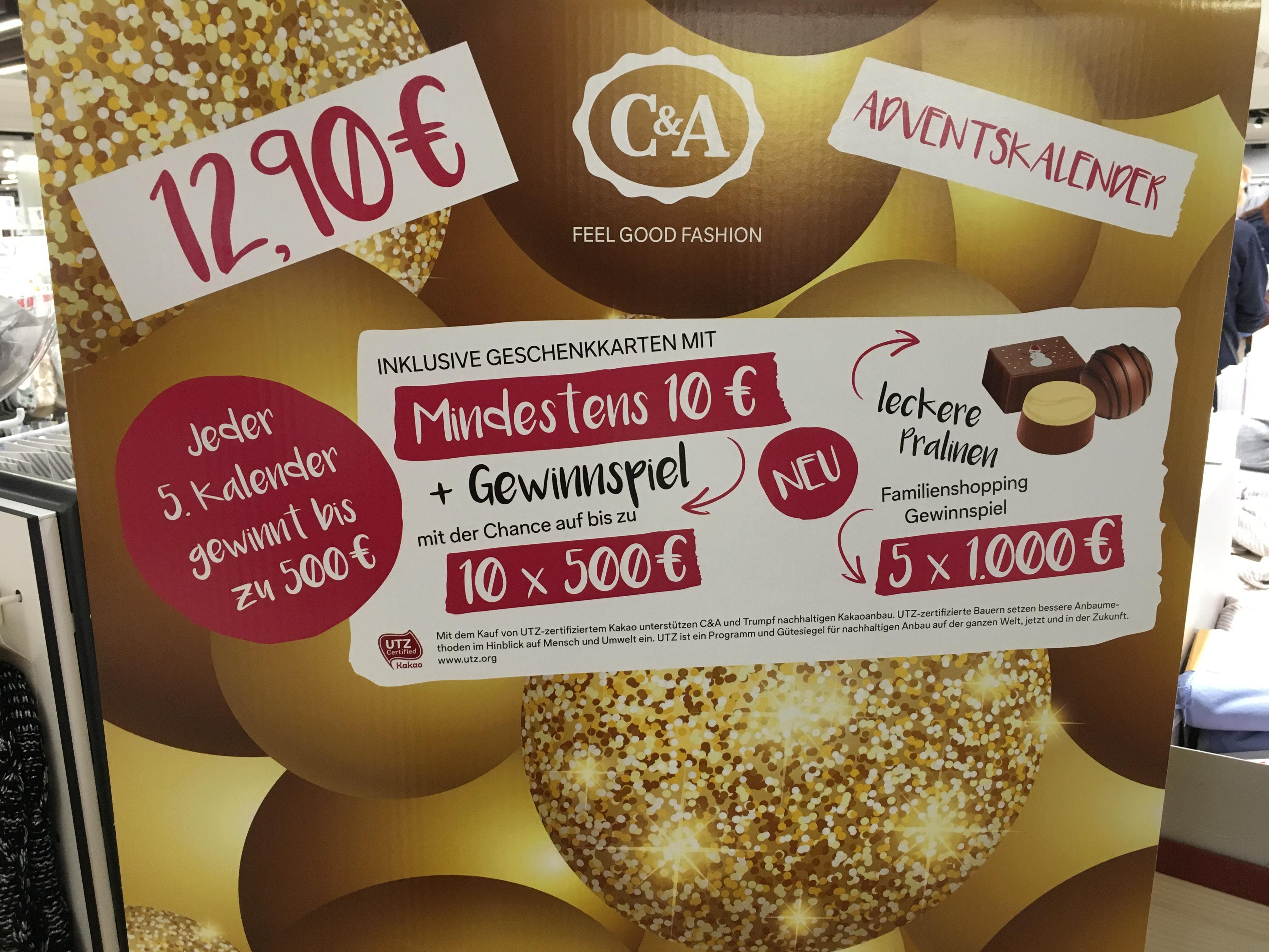 C&A Adventskalender für 10,32€ nur lokal. Coupon anbei, ohne Ausdruck !!