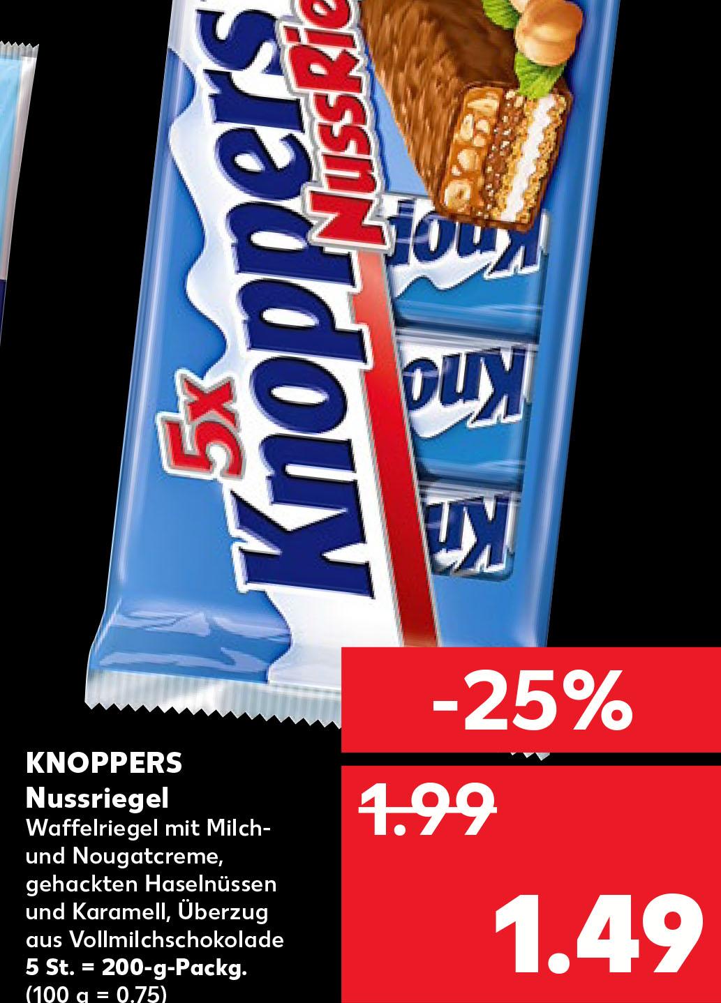 (Kaufland in Essen) Knoppers NussRiegel für 1,49€