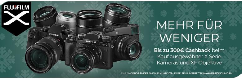 FUJIFILM Winter Cashback 2018 - vom 10.10. bis 10.01.19 bekommt Ihr bis zu 300€ auf ausgewählte X-Kameras & Kits sowie X-Objektive