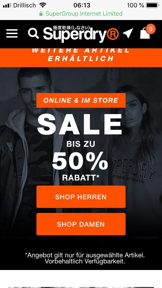Superdry Online Shop BIS ZU 50% Rabatt auf ausgewählte Artikel
