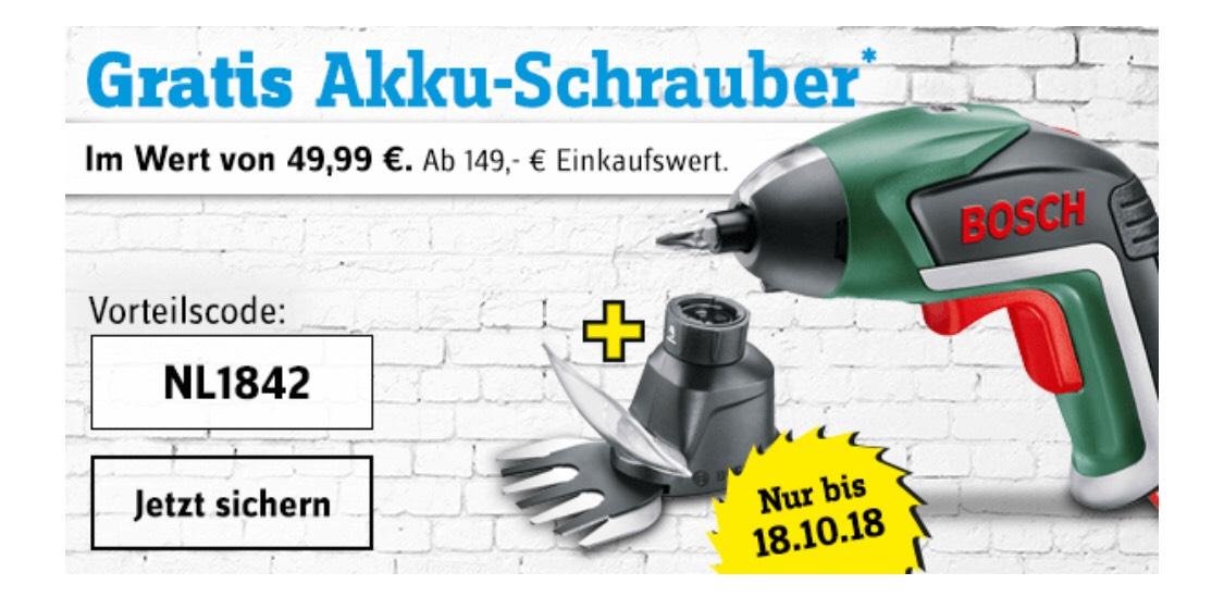 [Conrad Online] Gratis Bosch Akku-Schrauber ab 149,-€ Bestellwert