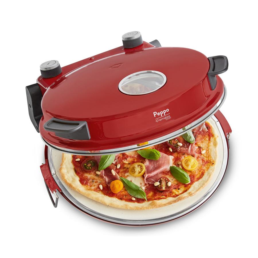 Springlane Pizzaofen Peppo (1200W, bis 400°C, Keramikstein, Emaillepfanne, Timer, Sichtfenster)