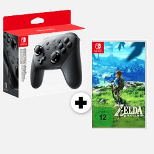 Nintendo Switch Pro Controller + The Legend of Zelda - Breath of the Wild für 89€ [MediaMarkt]