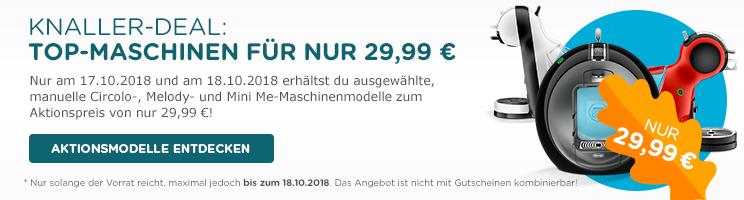 Dolce Gusto Ausgewählte Maschinen (Circolo, Melody, Mini Me) für nur 29,99 €