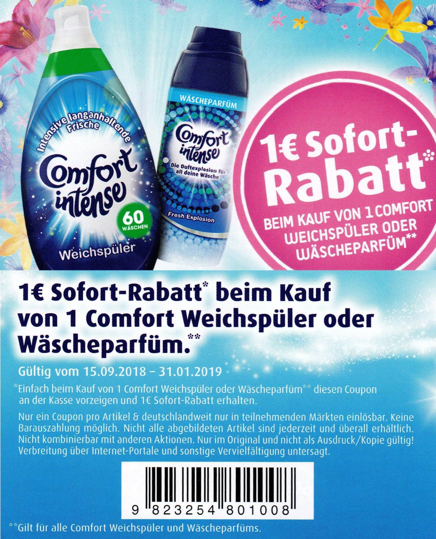 1€ Sofort-Rabatt Coupon für den Kauf einer Flasche Comfort Weichspüler oder Wäscheparfüm bis 31.01.2019 [bundesweit]
