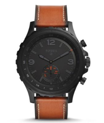 Herren Hybrid Smartwatch Q Nate mit Leder-Armbändern von Fossil