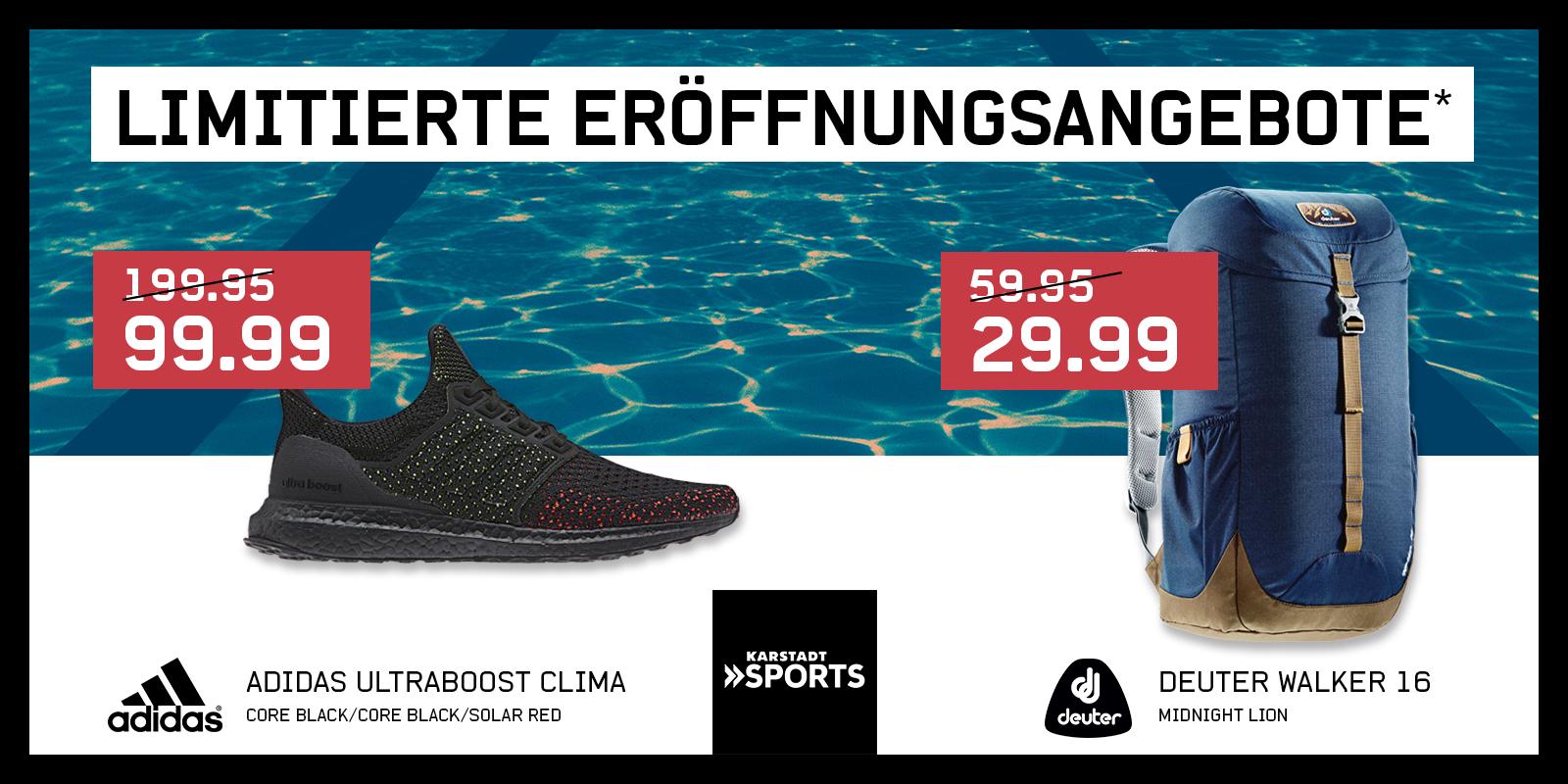 [LOKAL Stuttgart] Adidas Ultra Boost Clima für 99,99€ & Deuter Walker 16 Daypack Rucksack für 29,99€ bei Karstadt Sports Neueröffnung