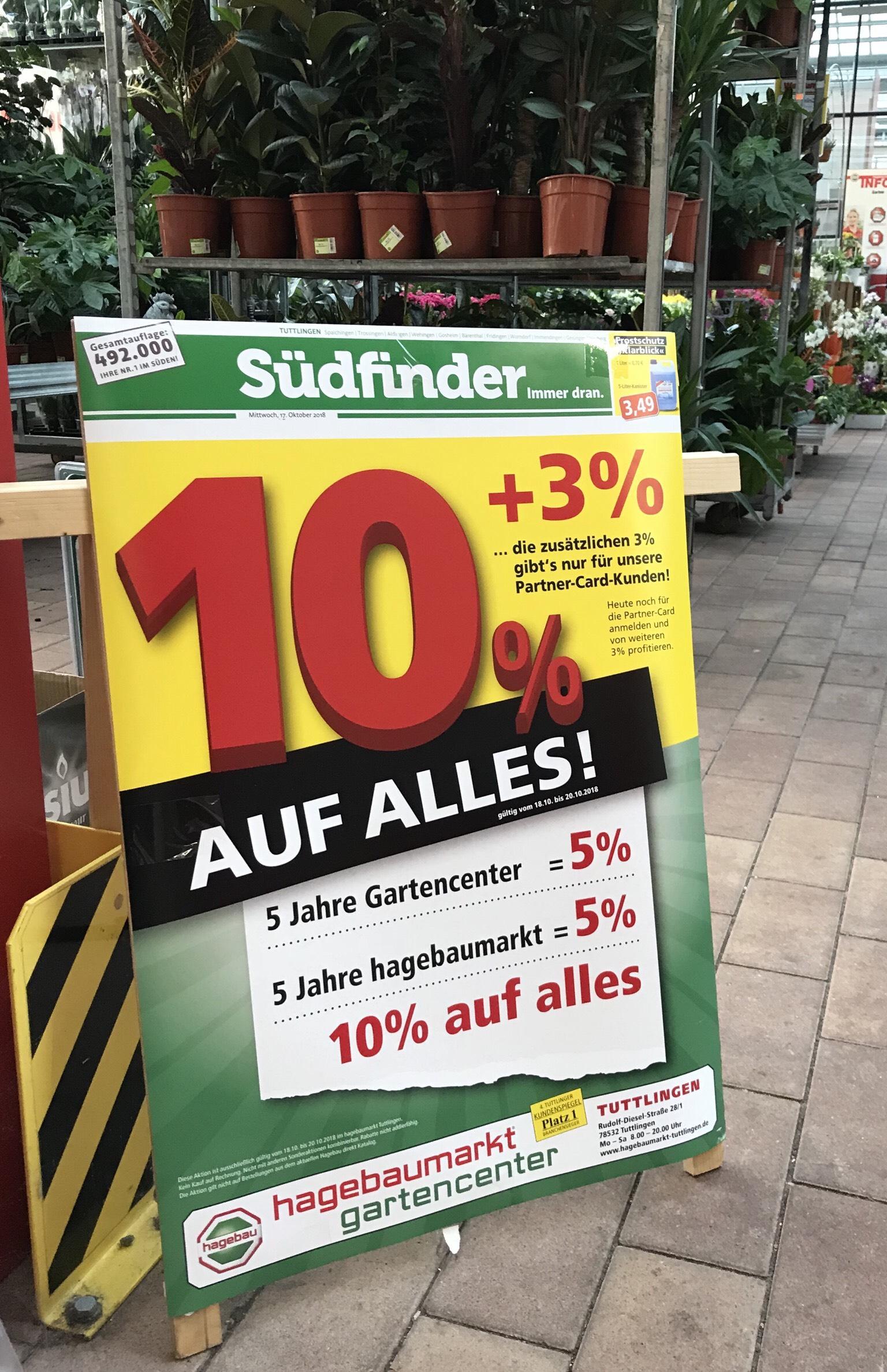 Lokal in Tuttlingen beim Hagebau -10% ( mit Kundenkarte sogar -13%)