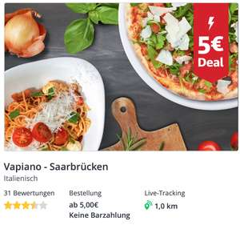 [LOKAL] Vapiano / Pizza Hut Saarbrücken bei Lieferheld 5 EUR Deal Aktion