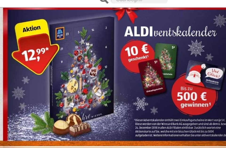[Aldi bundesweit] Adventskalender mit min. 10 € Gutschein (oder bis zu 500 €)
