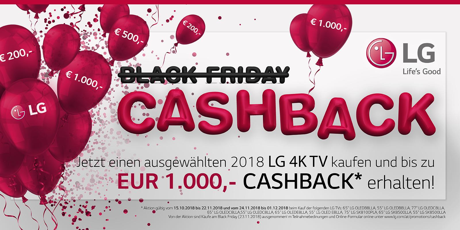 [Österreich] LG TVs Cashback bis zu 1000€ vom 15.10.2018 bis 22.11.2018 und vom 24.11.2018 bis 01.12.2018 (ausgenommen 23.11.2018)