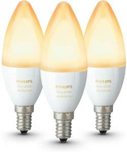 Auswahl an Philips Lampen - z.B. 3× Philips Hue White Ambiance LED (E27 oder E14) für 58.65€ (Amazon.fr)