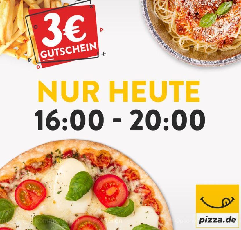 [pizza.de] 3€ Gutschein 8€ MBW heute 16-20 Uhr per App