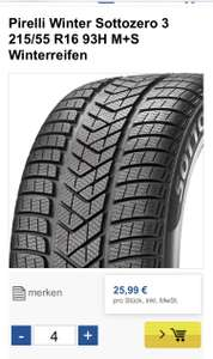 Pirelli Winter Sottozero 3 215/55 R16 93H M+S Winterreifen
