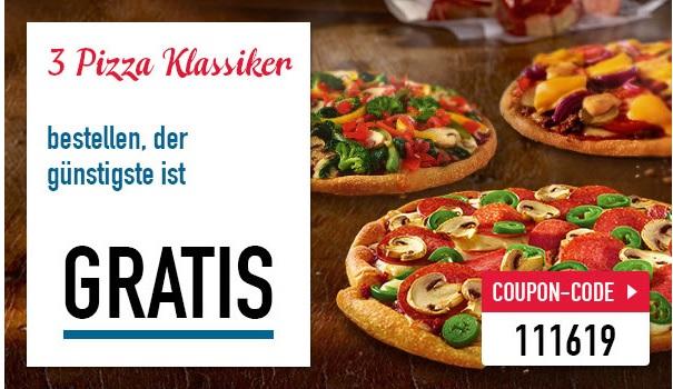 Dominos Pizza 3 für 2 Aktion 3 Pizzen zum Preis von 2