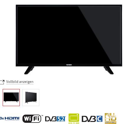 "Telefunken 39"" (99cm) Full HD LED TV D39F472N4CW / Smart TV, Netflix, Maxdome, Wlan, Triple Tuner, 600Hz Technik"