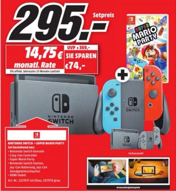 [Lokal Amberg] Nintendo Switch + Super Mario Party für 295€ Media Markt