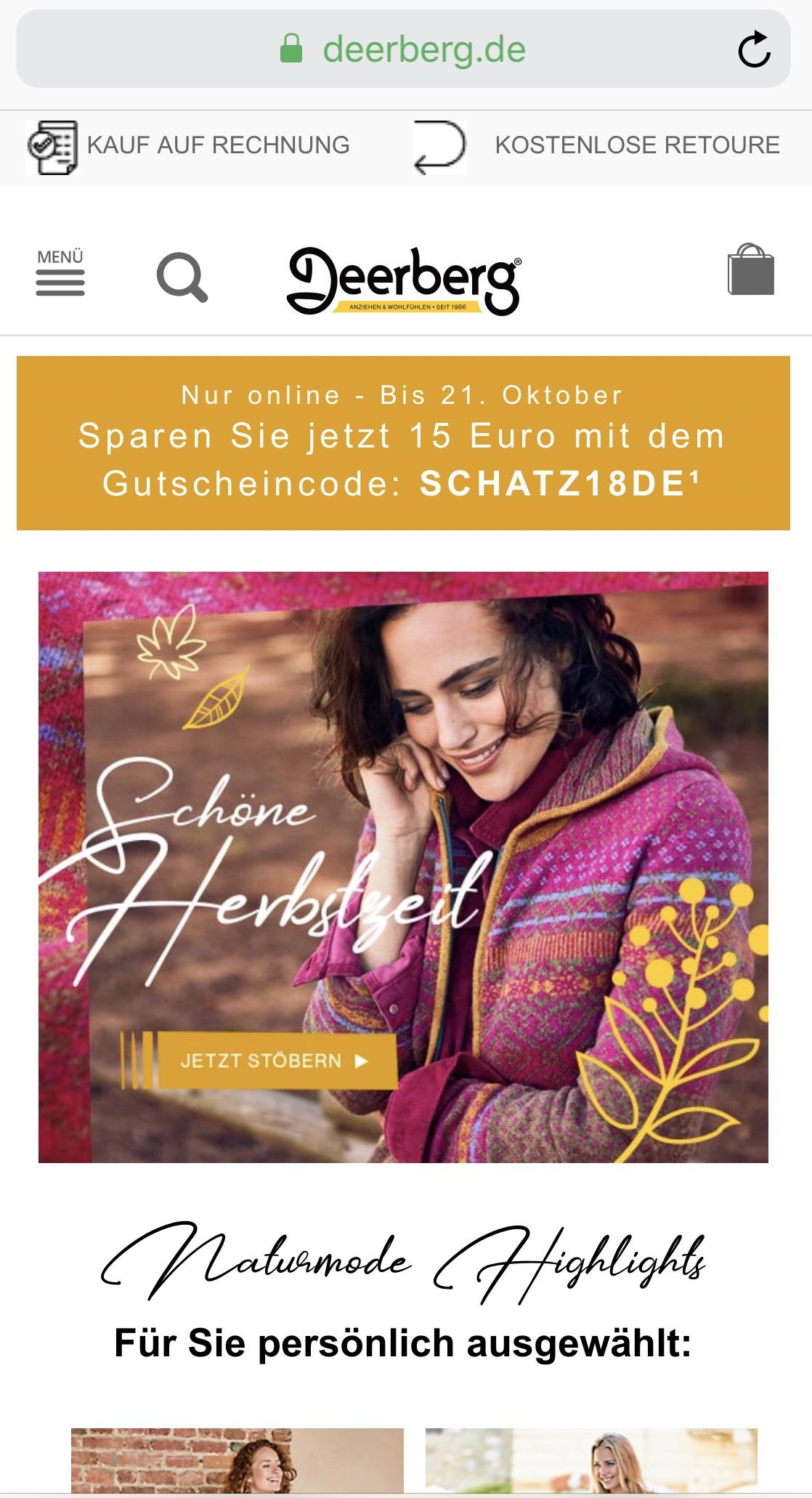 15€ Deerberg Hanstedt Gutschein ab 79€ Bestellwert – Nachhaltige Mode