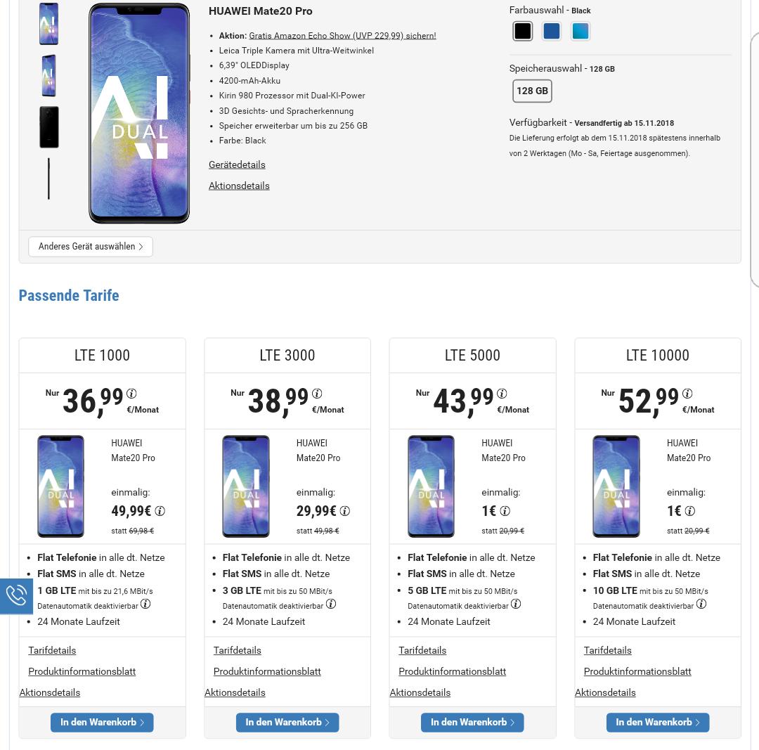 Huawei Mate 20 Pro für 29,99€ + gratis Amazon Echo Show + o2 Allnet-Flat mit 3GB LTE für 38,99€ mtl. // effektiv guter Deal