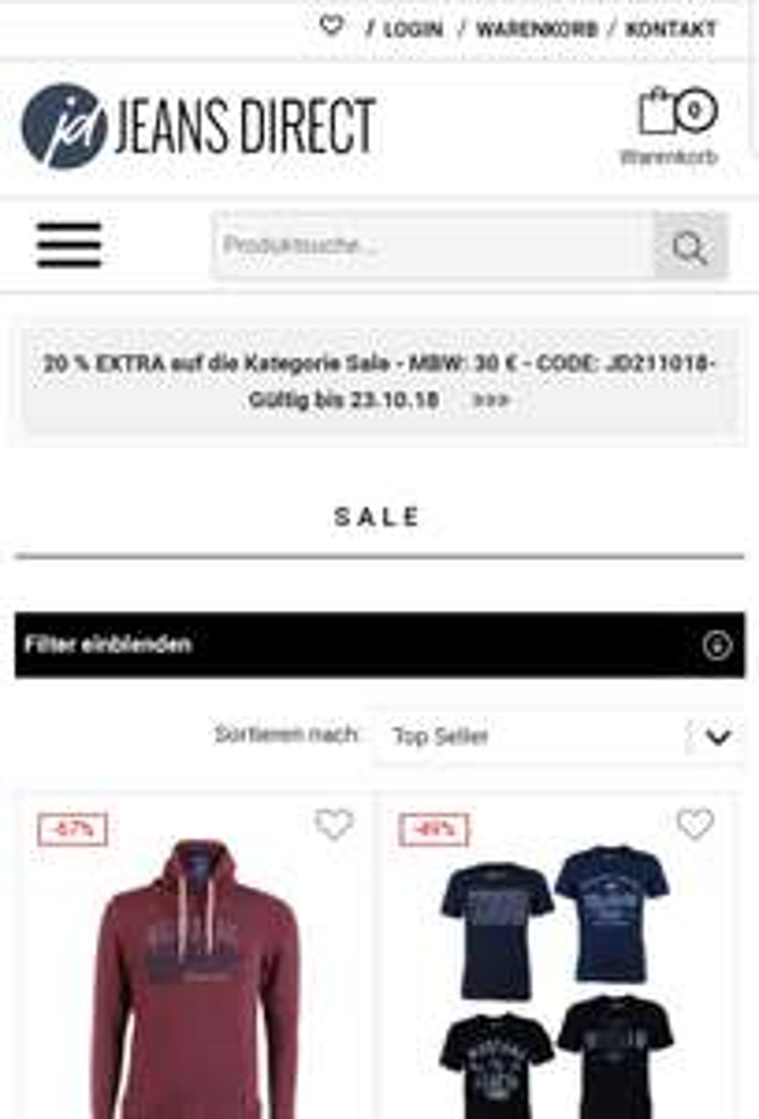 Bis zu 70% Rabatt im Sale + 20% Extra-Rabatt durch Code bei Jeans Direct