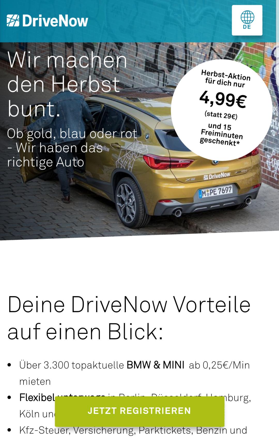 DriveNow Anmeldung für 4,99€ (statt 29€) inkl. 15 Freiminuten (+ Shoop 1,50€ Cashback)