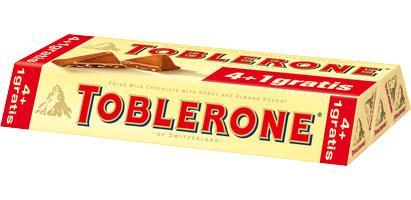 Toblerone 4+1 x 100g für 2.99  @Kaufland