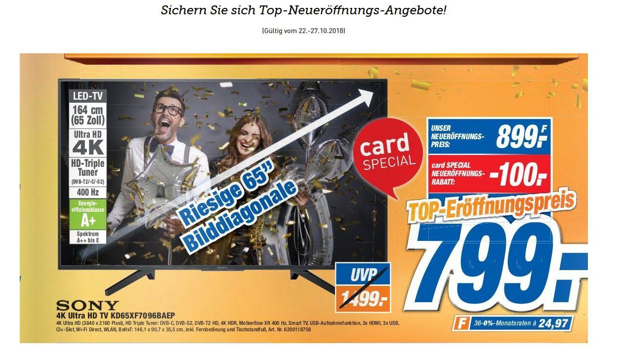 """[LOKAL Dodenhof Posthausen] Sony 4K Ultra HDTV (65"""") KD65XF7096BAEP - 799 € mit Dodenhof Card, ohne 899 €"""