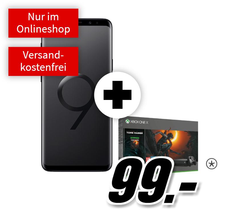 Samsung Galaxy S9+ & Xbox One X Tomb Raider Bundle inkl. Telekom Real Allnet (Mobilcom) (Telefonie-Flat + 8GB) [Mediamarkt online]