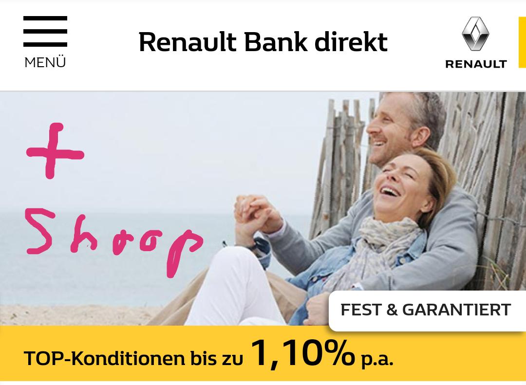 [Renault Bank direkt] Neukunden 10.000€ Festgeld 0,6% bis 1,1% und bis zu 70€ Cashback