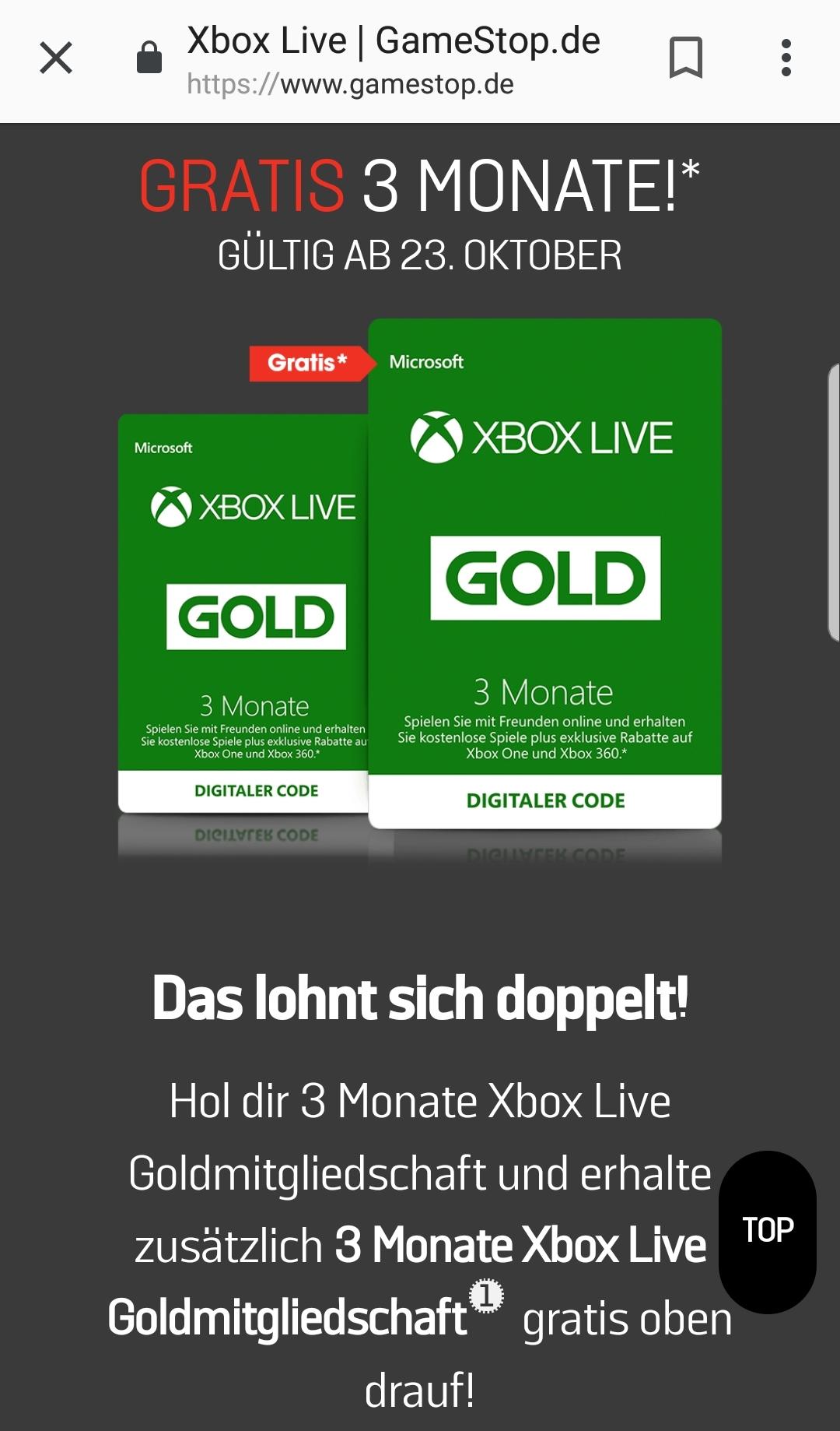 Gratis 3 Monate Xbox-Goldmitgliedschaft beim Kauf von 3 Monaten (gültig ab dem 23. Oktober)