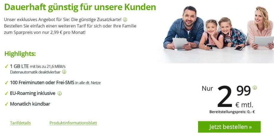 Drillisch Premium, WinSim Bestandskunden Zusatzkarte mit LTE 1GB und 100 Freiminuten dauerhaft für 2,99€ und ohne Bereitstellungsgebühr