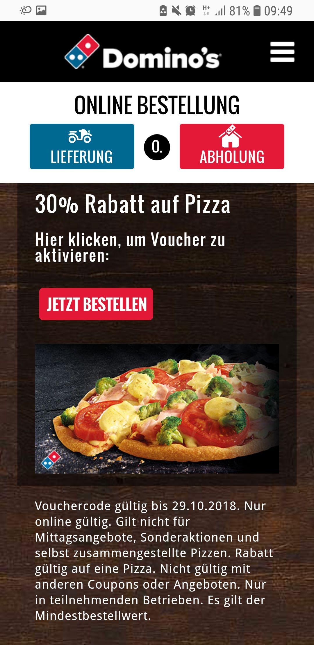 Dauerhaft gültiger 30% Rabatt Code / Voucher Dominos Pizza *keine Mittagsangebote*